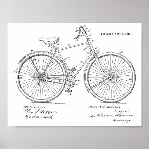 1892 Vintage Bicycle Patent Art Print