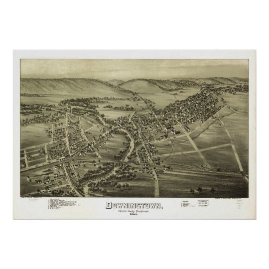 1893 Downingtown, PA Birds Eye View Panoramic Map Poster