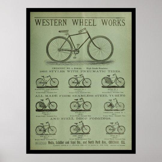 1893 Vintage Bicycle Magazine Ad Art Poster
