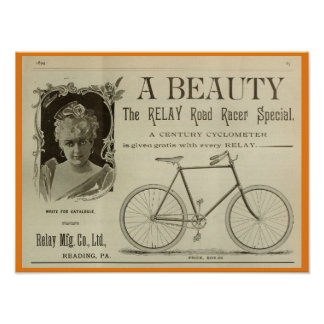 1893 Vintage Bicycle Racer Magazine Ad Art Poster