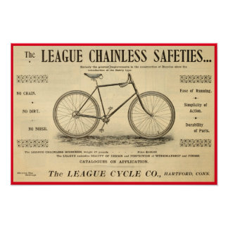 1894 League Chainless Safeties Bicycle Poster