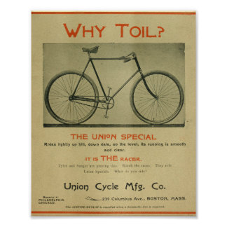 1894 Union Special Racer Bicycle Ad Art Print