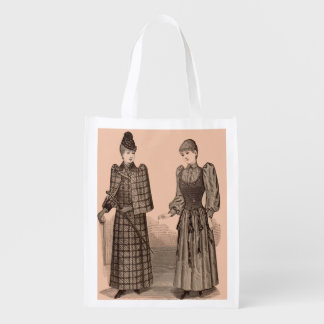 1895 Delineator print ladies coat and dress Reusable Grocery Bag