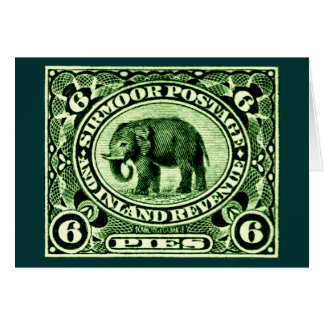 1895 Indian Princely States Elephant Note Card