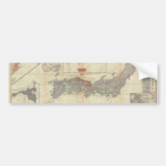 1895 Meiji 28 Japanese Map of Imperial Japan Bumper Sticker