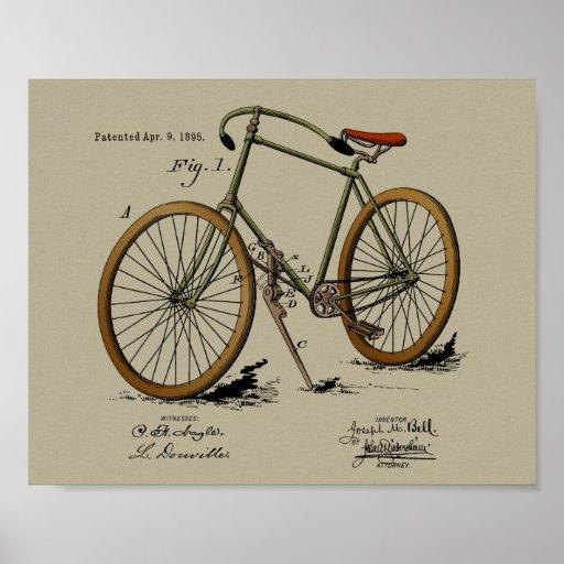 1895 Vintage Bicycle Patent Colour Art Print