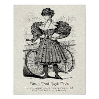 1895 Vintage French Bicycle Outfit Poster