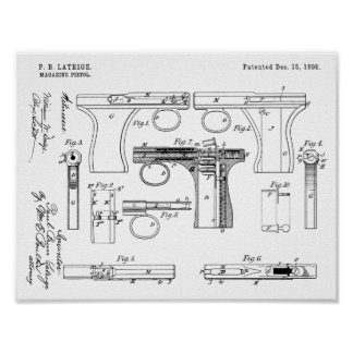 1896 Gun Magazine Patent Art Drawing Print