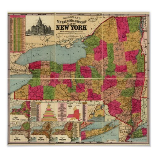 1896 Map of New York's Railroads and Townships