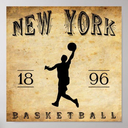 1896 New York City New York Basketball Poster