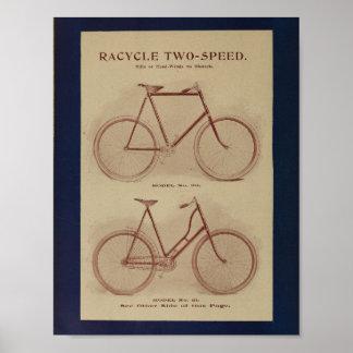 1896 Racycle 2 Speed Bicycle Ad Art Print