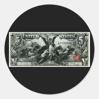 1896 US Five Dollar silver Certificate Round Sticker