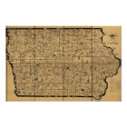 1897 Antique Map of Iowa Rail Delivery Routes Poster