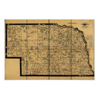 1897 Antique Railroad Map of Nebraska Poster