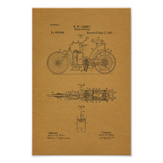 1897 Vintage Steam Bicycle Patent Art Print