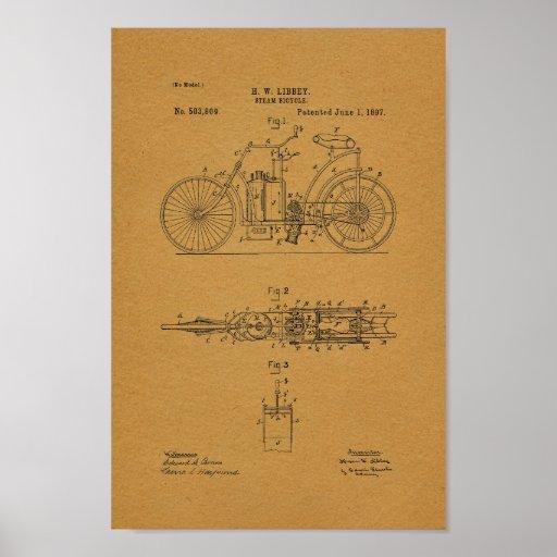1897 Vintage Steam Bicycle Patent Art Print