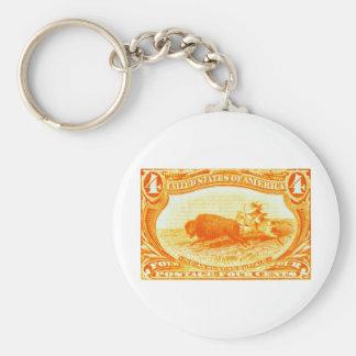 1898 Indian Hunting Buffalo Basic Round Button Key Ring