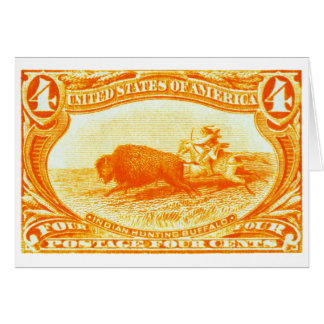 1898 Indian Hunting Buffalo Stamp Note Card
