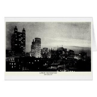 1898 Lower Manhattan at dusk Greeting Card