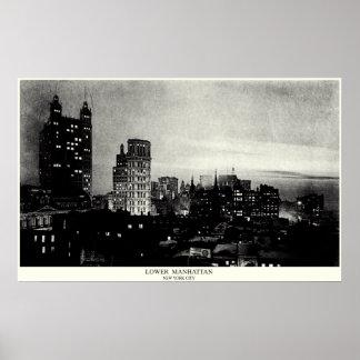 1898 Lower Manhattan at dusk Print
