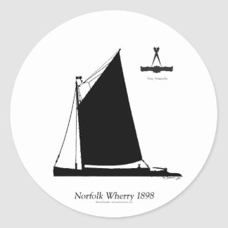 1898 Norfolk Wherry - tony fernandes Classic Round Sticker