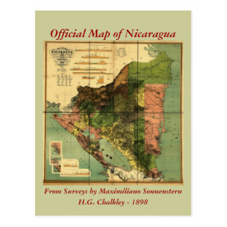 1898 Official Map of Nicaragua Postcard