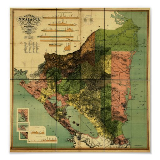 1898 Official Map of Nicaragua Print