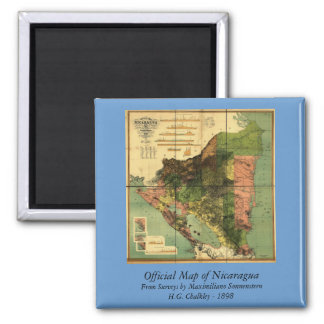1898 Official Map of Nicaragua Square Magnet