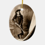 1898 Photo of Miss Annie Oakley Holding a Rifle Ceramic Oval Decoration