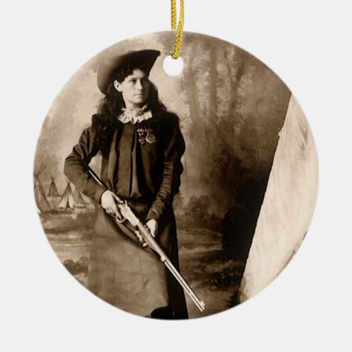1898 Photo of Miss Annie Oakley Holding a Rifle Round Ceramic Decoration
