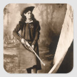1898 Portrait of Miss Annie Oakley Holding a Rifle Square Stickers