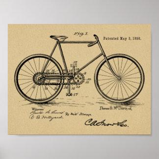 1898 Vintage Bicycle Design Patent Art Print