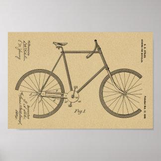 1899 Bicycle Gearing Patent Art Drawing Print
