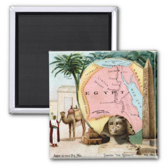 1899 Egypt Trading Card Square Magnet
