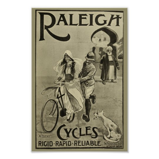 1899 Vintage Bicycle Raleigh Cycles Ad Art Poster