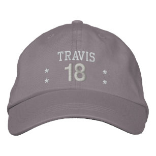18 Birthday Custom Name WHITE GRAY Embroidery V55 Embroidered Hat