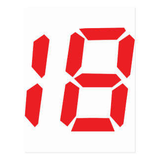 18 eighteen red alarm clock digital number postcard