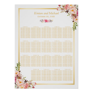 18+ Tables Wedding Seating Chart Floral Gold Frame Poster