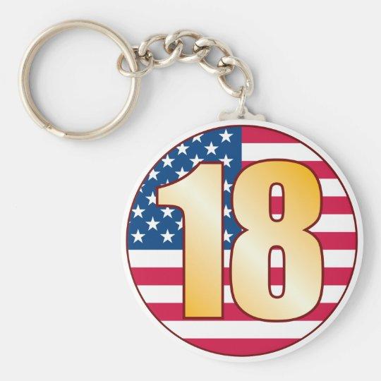 18 USA Gold Basic Round Button Key Ring
