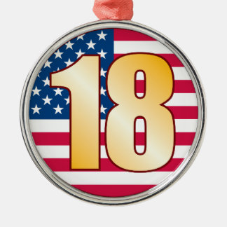 18 USA Gold Christmas Ornament