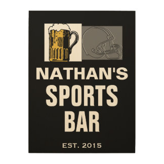 18 X 24 PERSONALIZED SPORTS BAR MAN CAVE WOOD SIGN