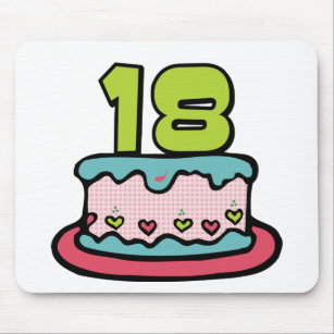 18 Year Old Birthday Cake Mouse Mat