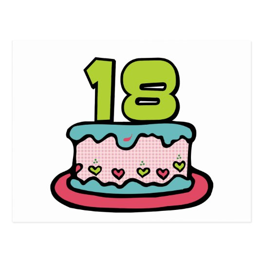 Astonishing 18 Year Old Birthday Cake Postcard Zazzle Co Uk Funny Birthday Cards Online Elaedamsfinfo