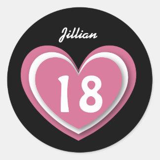 18 Year Old Birthday Layered Hearts V18R Round Sticker