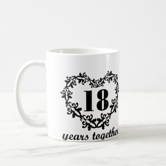 18th Anniversary 18 Years Together Heart Gift Mug