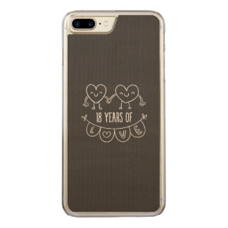 18th Anniversary Chalk Hearts Carved iPhone 8 Plus/7 Plus Case