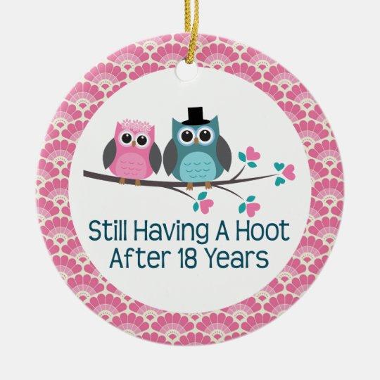 18th Anniversary Owl Wedding Anniversaries Gift Christmas Ornament