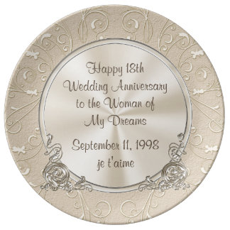18th Anniversary to the Woman of My Dreams Gift Plate