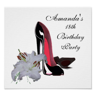 18th Birthday, Black Stiletto Shoes and Lilies Pos Poster