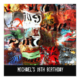 18th Birthday Boys Mens Street Art Abstract A3 13 Cm X 13 Cm Square Invitation Card